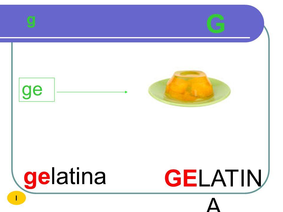 g G ge gelatina GELATINA I