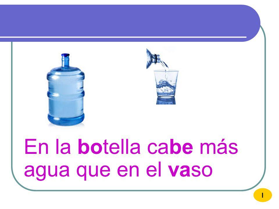 En la botella cabe más agua que en el vaso