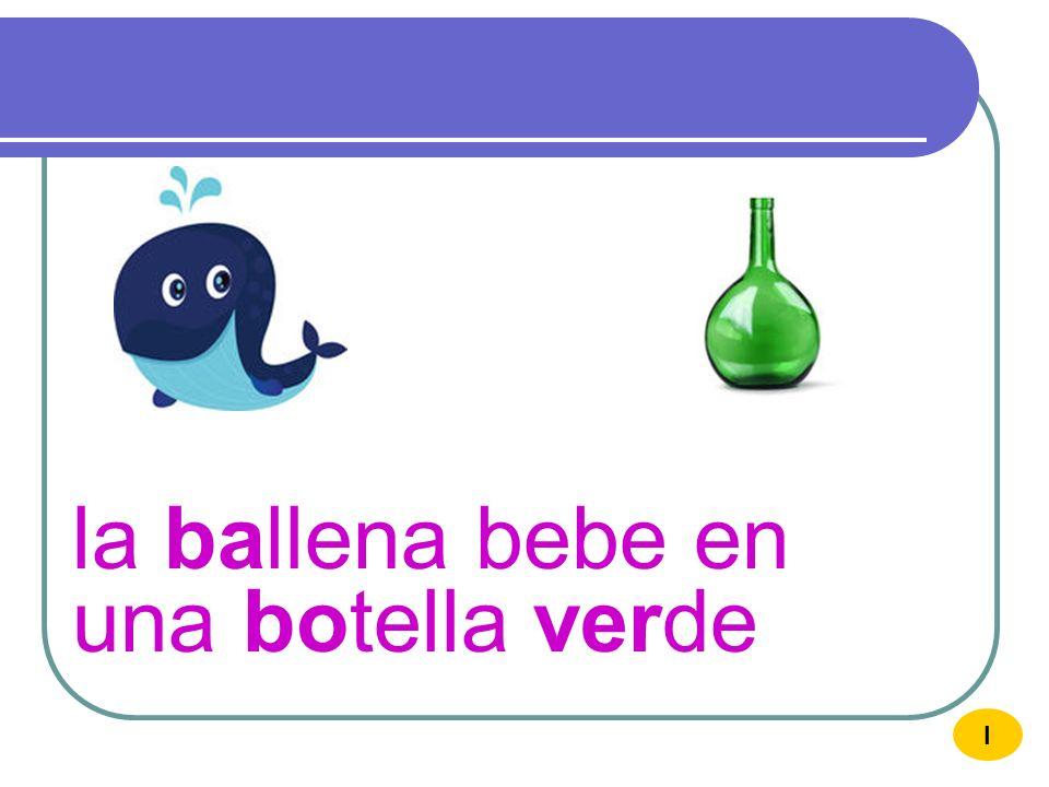 la ballena bebe en una botella verde
