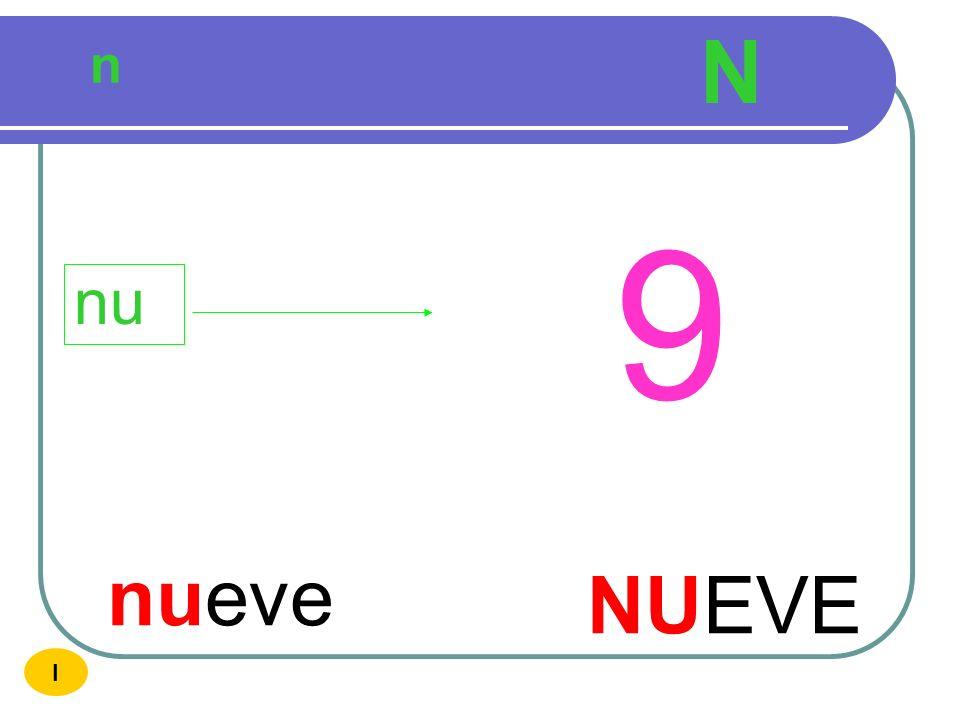 N n 9 nu nueve NUEVE I