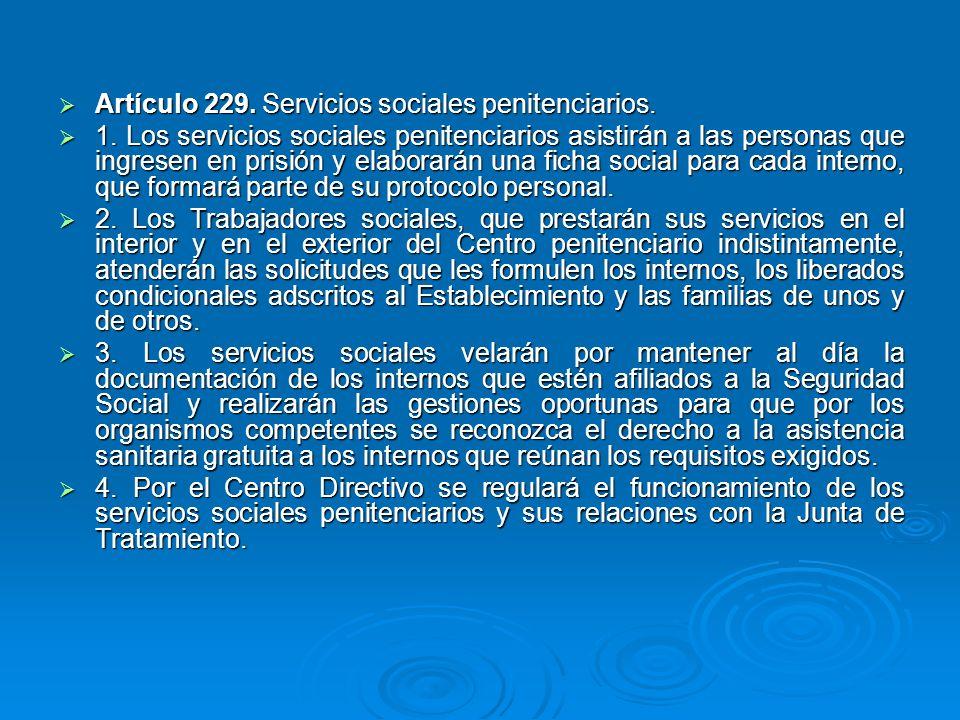 Artículo 229. Servicios sociales penitenciarios.