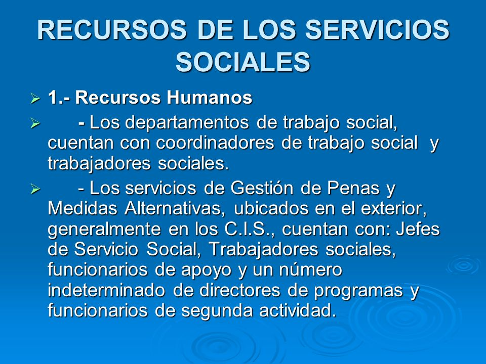 RECURSOS DE LOS SERVICIOS SOCIALES