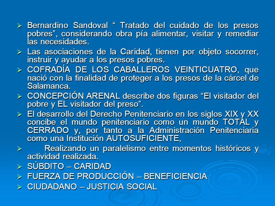Bernardino Sandoval Tratado del cuidado de los presos pobres , considerando obra pía alimentar, visitar y remediar las necesidades.