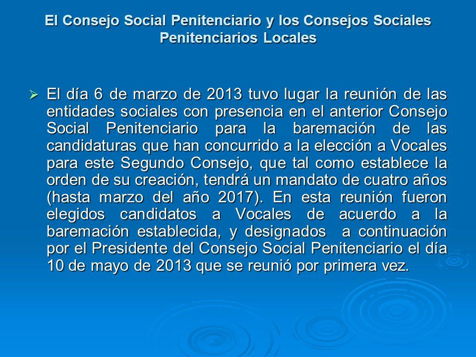 El Consejo Social Penitenciario y los Consejos Sociales Penitenciarios Locales