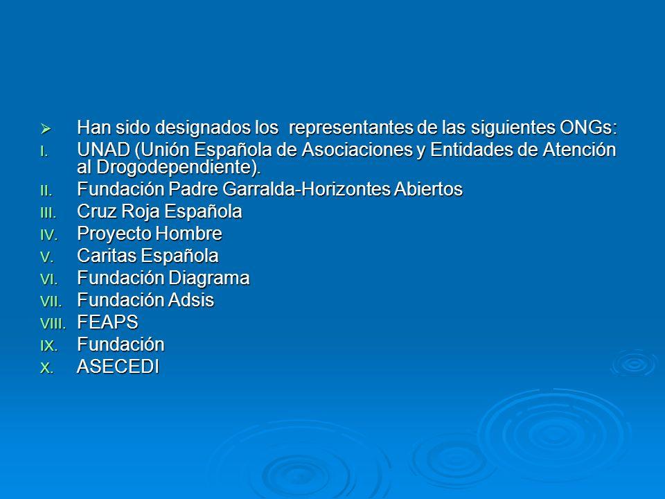Han sido designados los representantes de las siguientes ONGs: