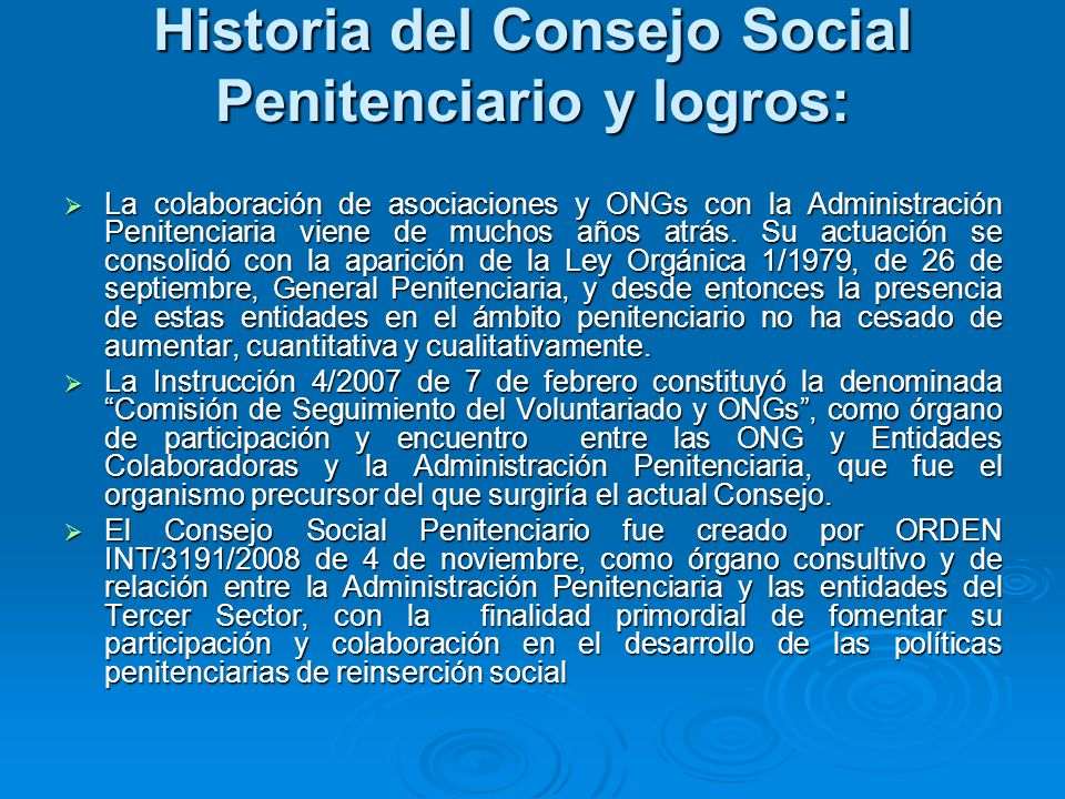 Historia del Consejo Social Penitenciario y logros: