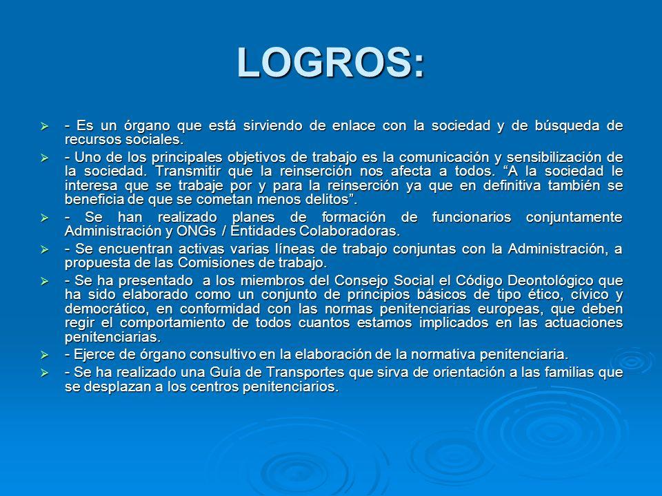LOGROS: - Es un órgano que está sirviendo de enlace con la sociedad y de búsqueda de recursos sociales.