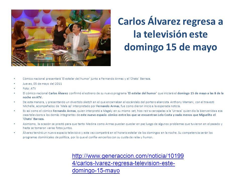 Carlos Álvarez regresa a la televisión este domingo 15 de mayo