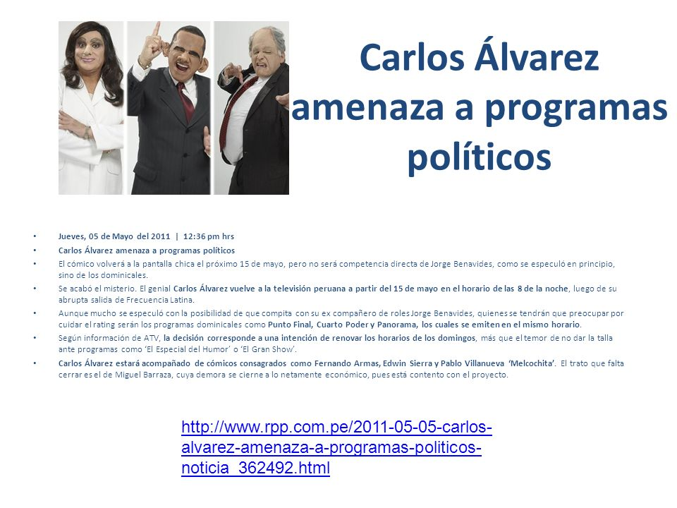 Carlos Álvarez amenaza a programas políticos