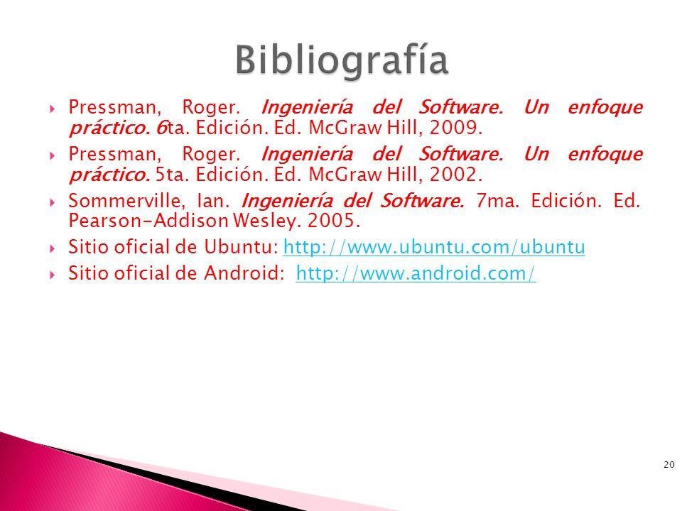 Bibliografía Pressman, Roger. Ingeniería del Software. Un enfoque práctico. 6ta. Edición. Ed. McGraw Hill, 2009.