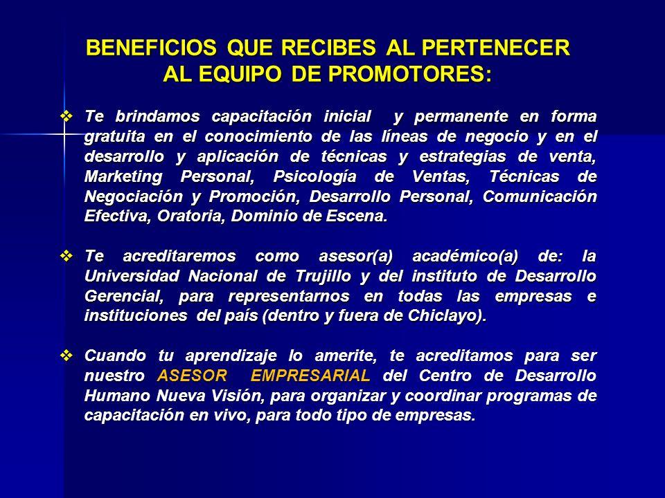 BENEFICIOS QUE RECIBES AL PERTENECER AL EQUIPO DE PROMOTORES: