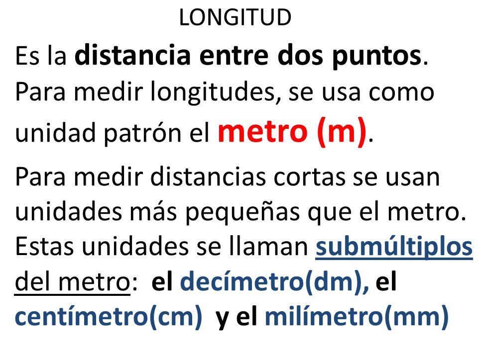 LONGITUD Es la distancia entre dos puntos. Para medir longitudes, se usa como unidad patrón el metro (m).