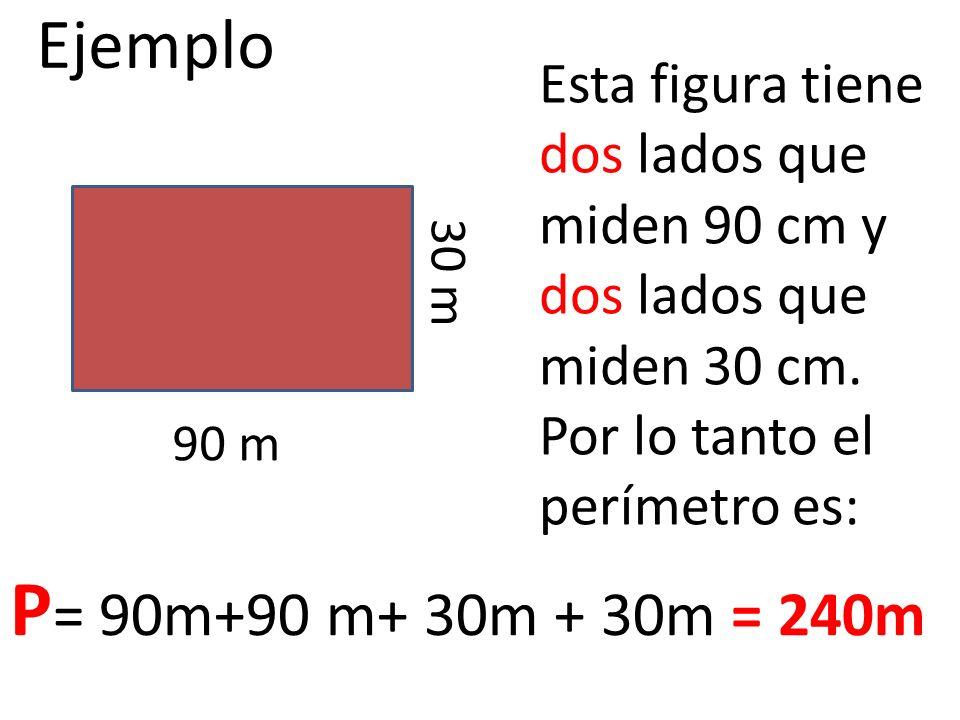 EjemploEsta figura tiene dos lados que miden 90 cm y dos lados que miden 30 cm. Por lo tanto el perímetro es: