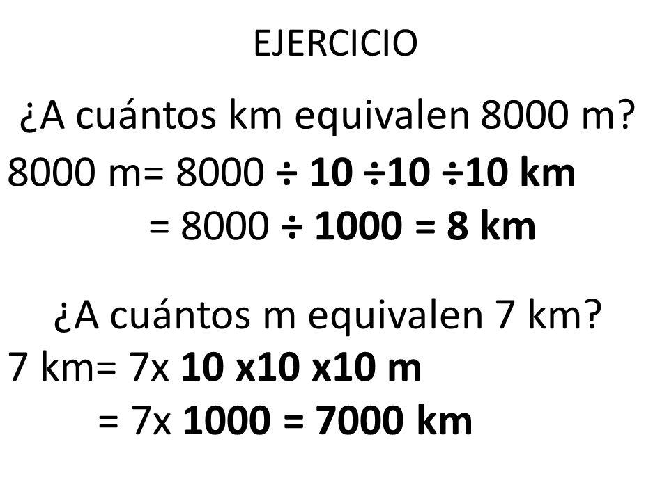 ¿A cuántos km equivalen 8000 m