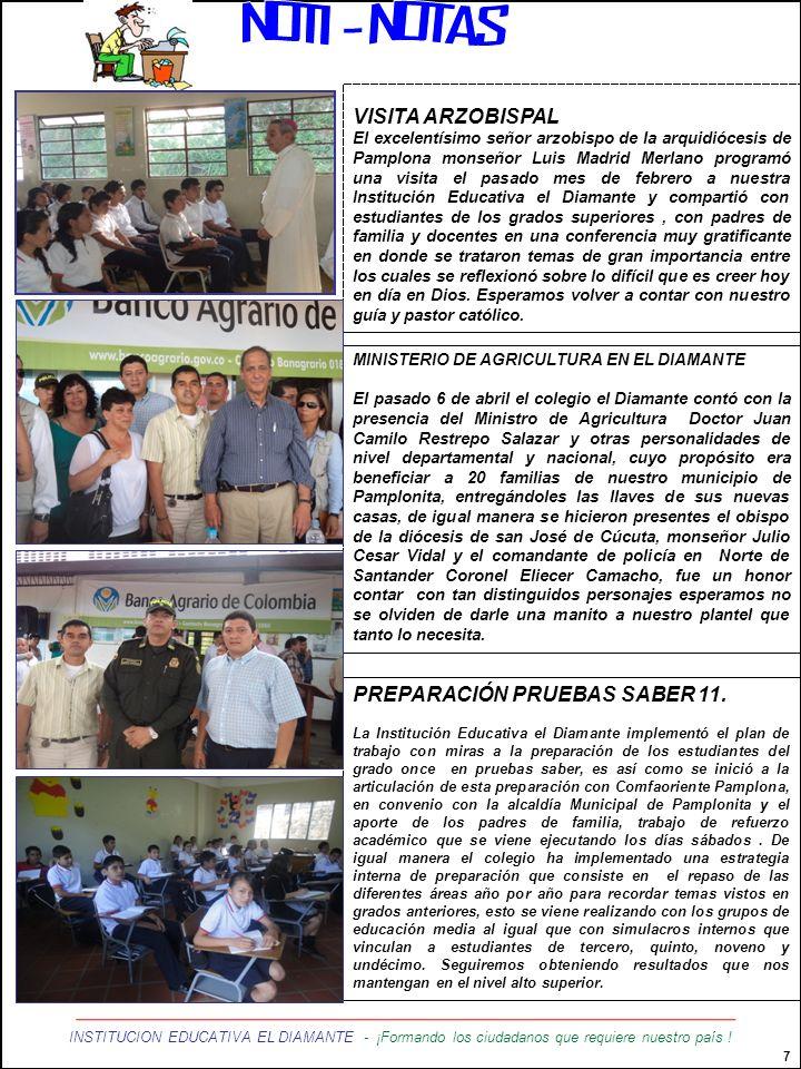 NOTI - NOTAS VISITA ARZOBISPAL PREPARACIÓN PRUEBAS SABER 11.