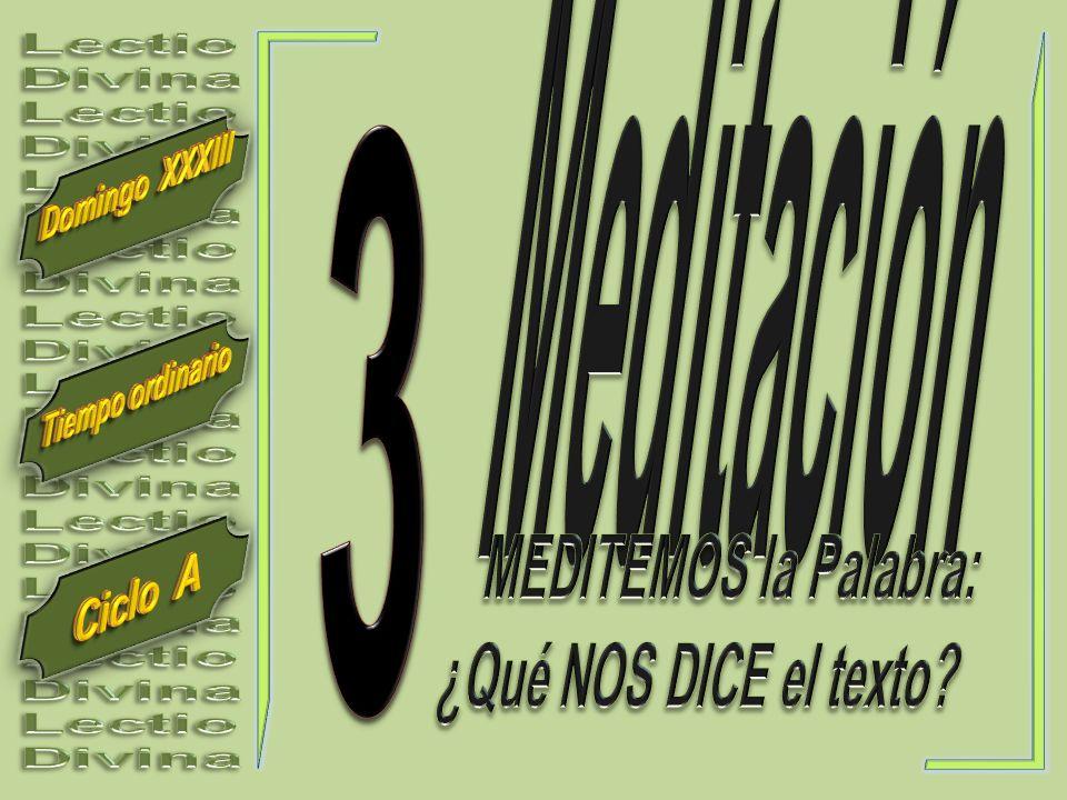 Meditación Lectio. Divina. 3. Domingo XXXIII. Tiempo ordinario. MEDITEMOS la Palabra: ¿Qué NOS DICE el texto