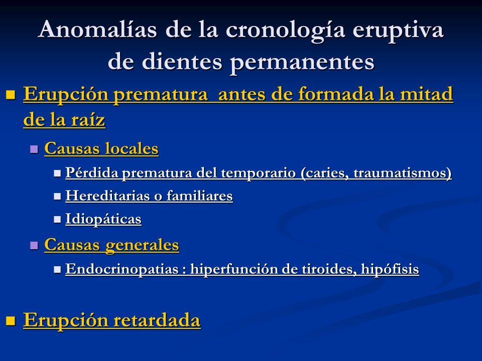 Anomalías de la cronología eruptiva de dientes permanentes