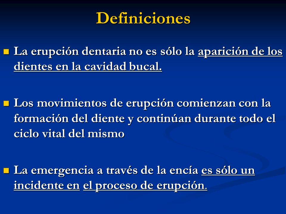 Definiciones La erupción dentaria no es sólo la aparición de los dientes en la cavidad bucal.
