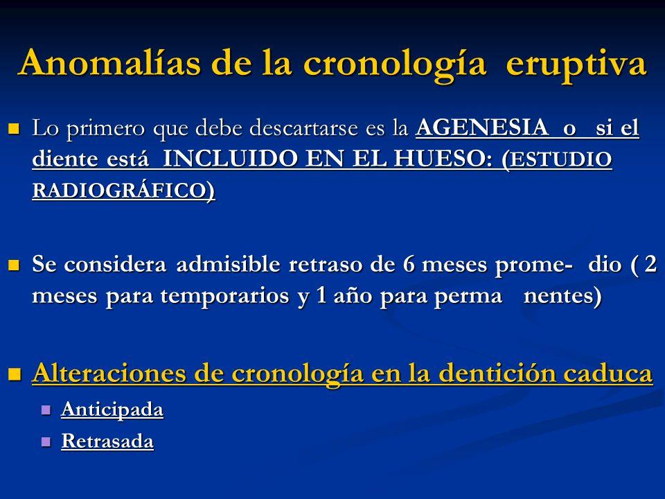 Anomalías de la cronología eruptiva