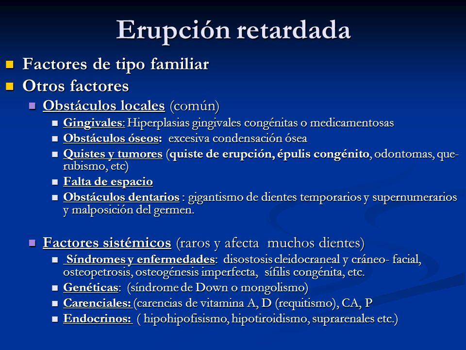 Erupción retardada Factores de tipo familiar Otros factores