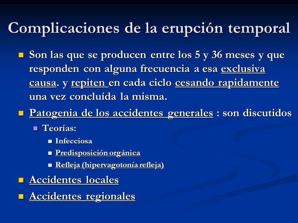 Complicaciones de la erupción temporal