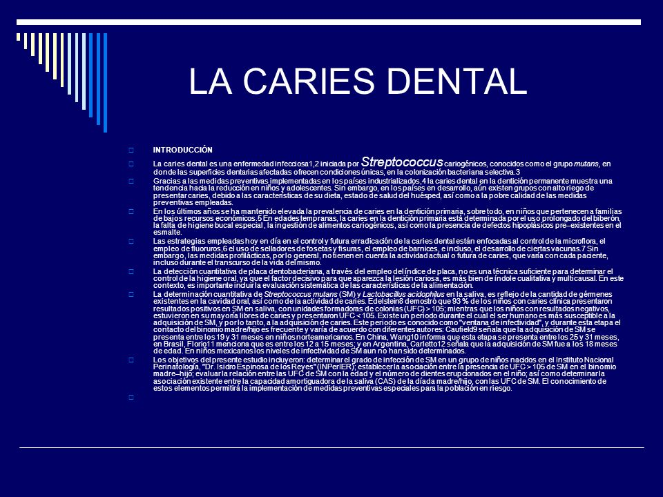 LA CARIES DENTAL INTRODUCCIÓN