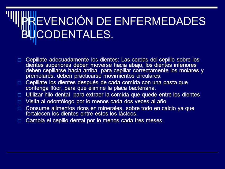 PREVENCIÓN DE ENFERMEDADES BUCODENTALES.