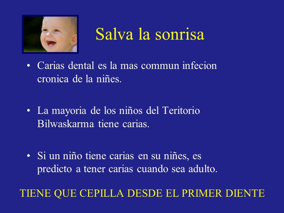 Salva la sonrisa Carias dental es la mas commun infecion cronica de la niñes. La mayoria de los niños del Teritorio Bilwaskarma tiene carias.