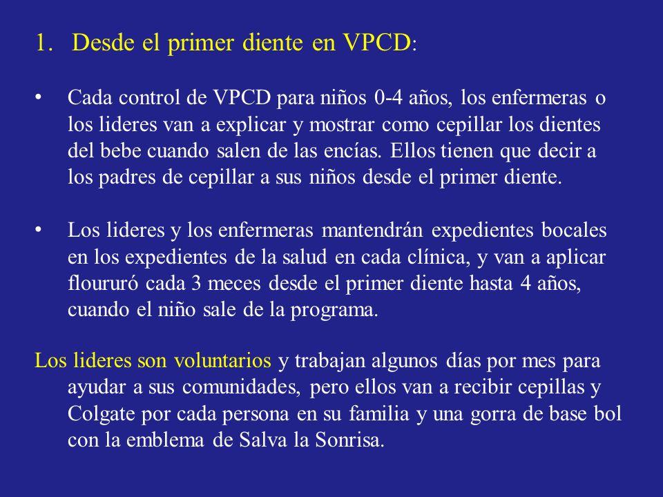 Desde el primer diente en VPCD: