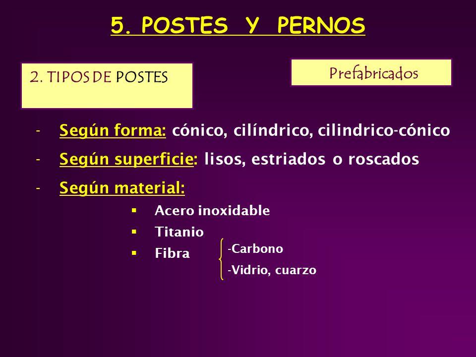 5. POSTES Y PERNOS Prefabricados 2. TIPOS DE POSTES