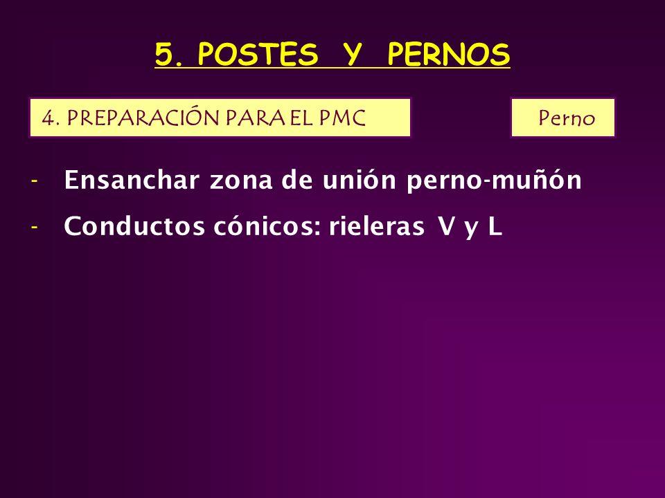 5. POSTES Y PERNOS 4. PREPARACIÓN PARA EL PMC Perno