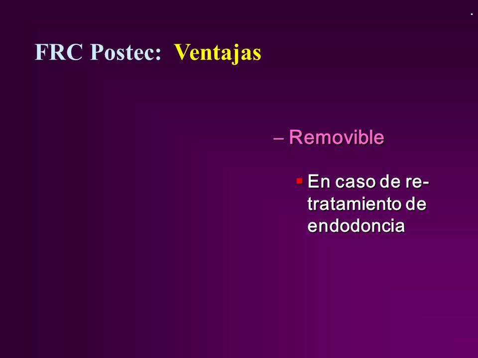 FRC Postec: Ventajas Removible En caso de re-tratamiento de endodoncia