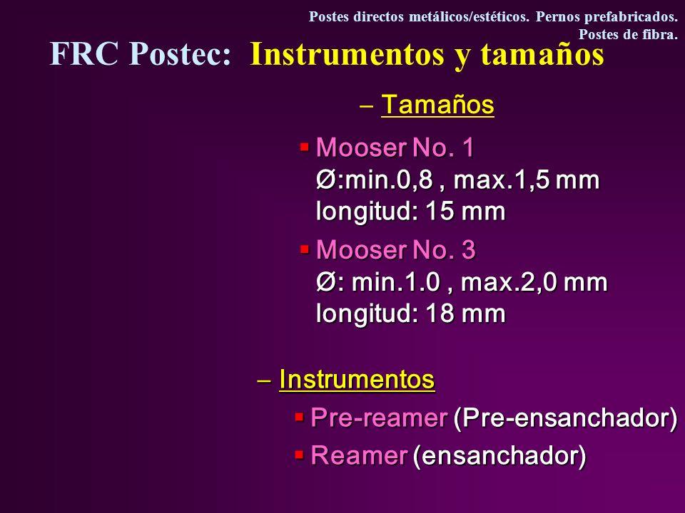 FRC Postec: Instrumentos y tamaños
