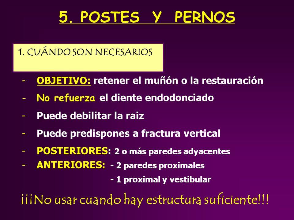 5. POSTES Y PERNOS ¡¡¡No usar cuando hay estructura suficiente!!!
