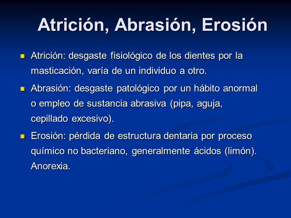 Atrición, Abrasión, Erosión