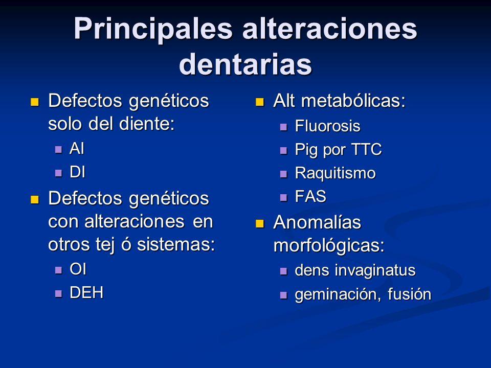 Principales alteraciones dentarias