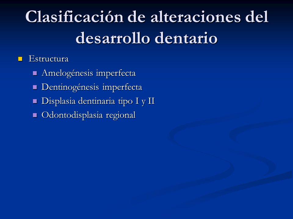 Clasificación de alteraciones del desarrollo dentario