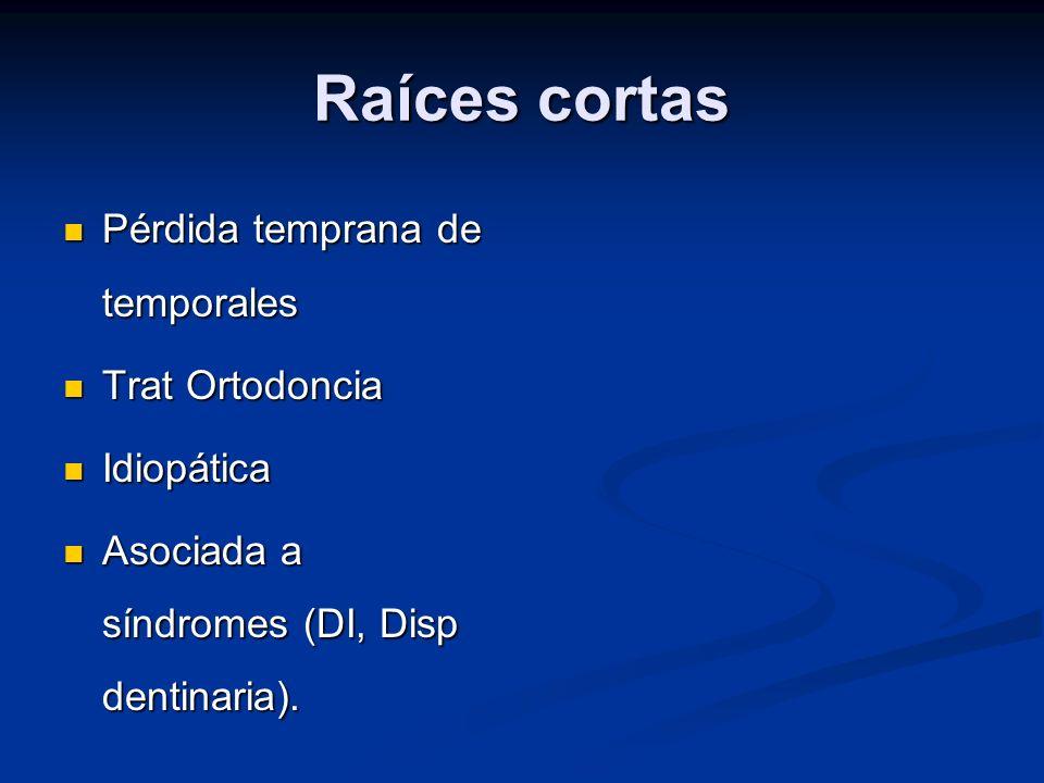 Raíces cortas Pérdida temprana de temporales Trat Ortodoncia