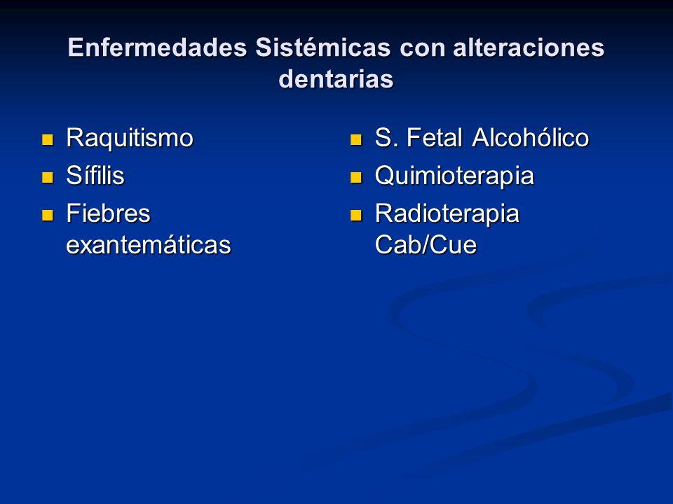 Enfermedades Sistémicas con alteraciones dentarias
