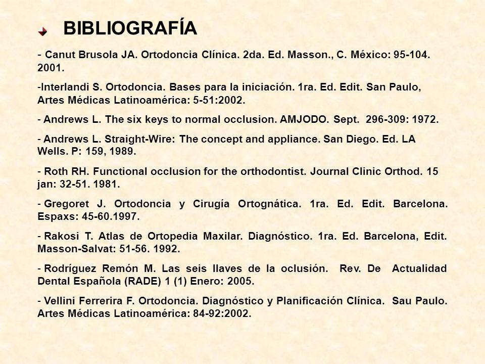 BIBLIOGRAFÍA Canut Brusola JA. Ortodoncia Clínica. 2da. Ed. Masson., C. México: 95-104. 2001.