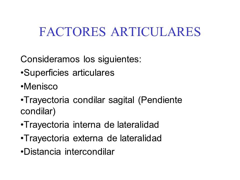 FACTORES ARTICULARES Consideramos los siguientes: