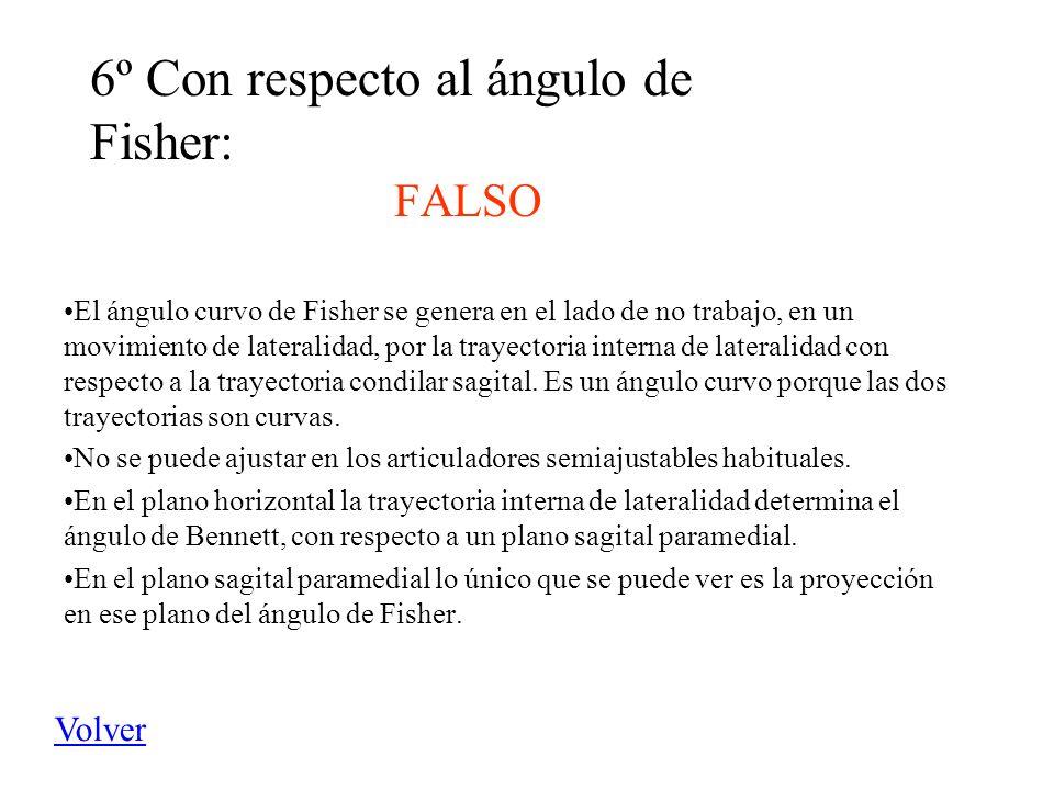 6º Con respecto al ángulo de Fisher: FALSO