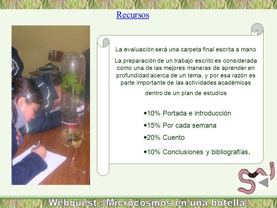 Webquest : Microcosmos en una botella