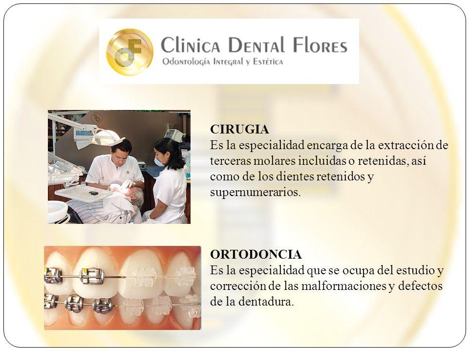 CIRUGIA Es la especialidad encarga de la extracción de terceras molares incluidas o retenidas, así como de los dientes retenidos y supernumerarios.