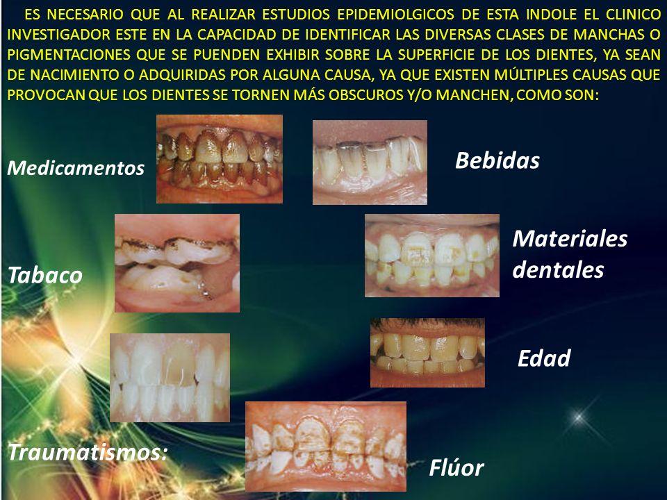 Bebidas Materiales dentales Tabaco Edad Traumatismos: Flúor