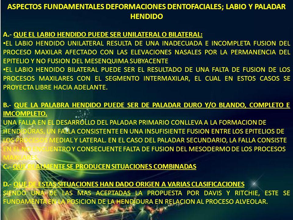 ASPECTOS FUNDAMENTALES DEFORMACIONES DENTOFACIALES; LABIO Y PALADAR HENDIDO