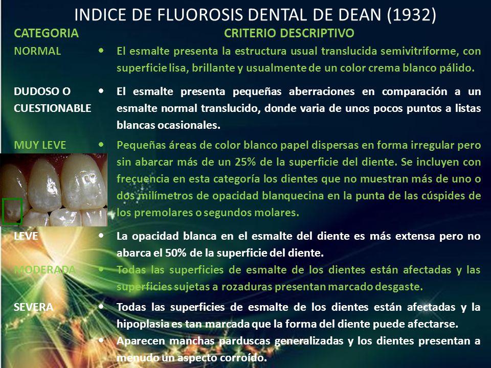 INDICE DE FLUOROSIS DENTAL DE DEAN (1932)