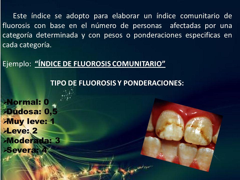 TIPO DE FLUOROSIS Y PONDERACIONES:
