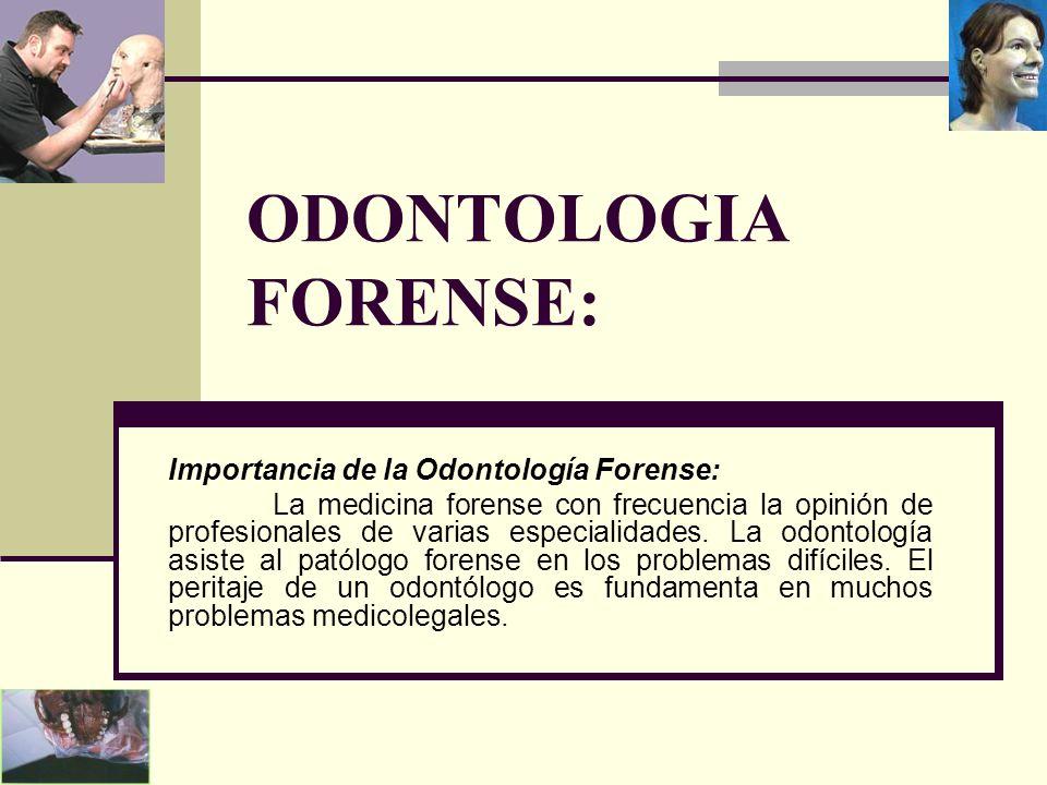 ODONTOLOGIA FORENSE: Importancia de la Odontología Forense: