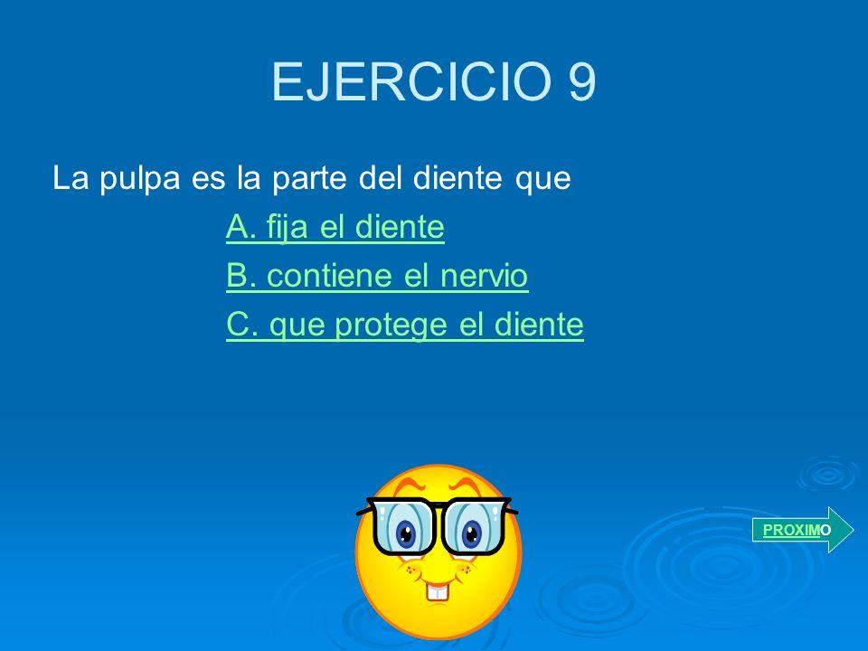 EJERCICIO 9 La pulpa es la parte del diente que A. fija el diente